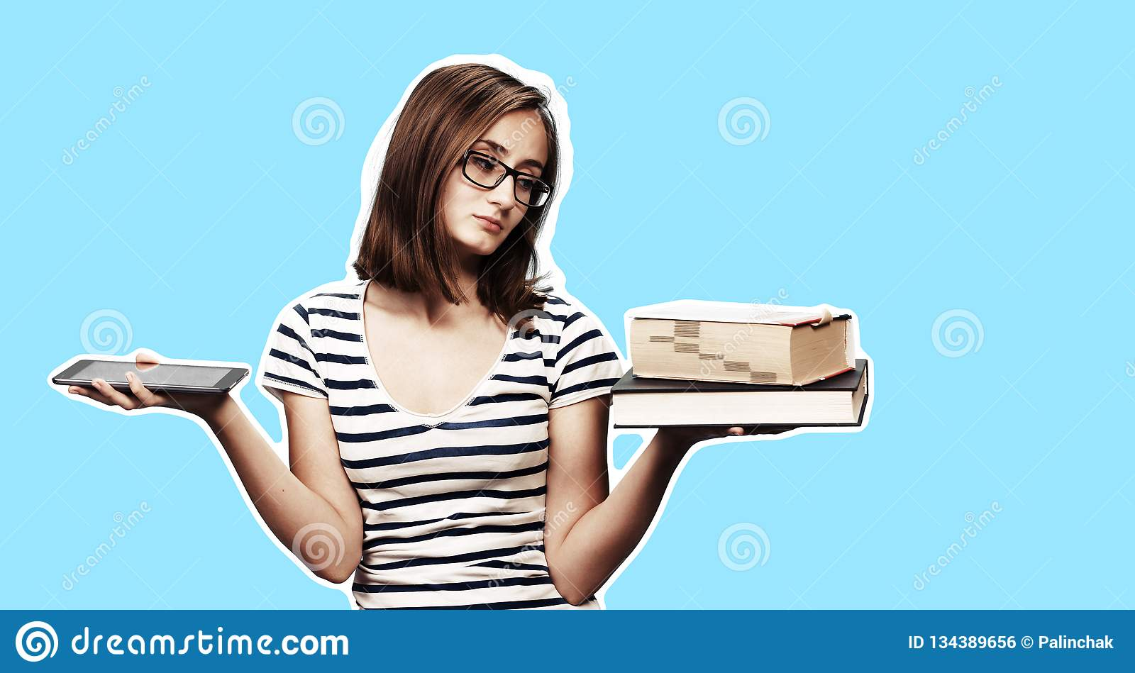 Ebook Vs Book Stock Photo Image Of Student Study Modern