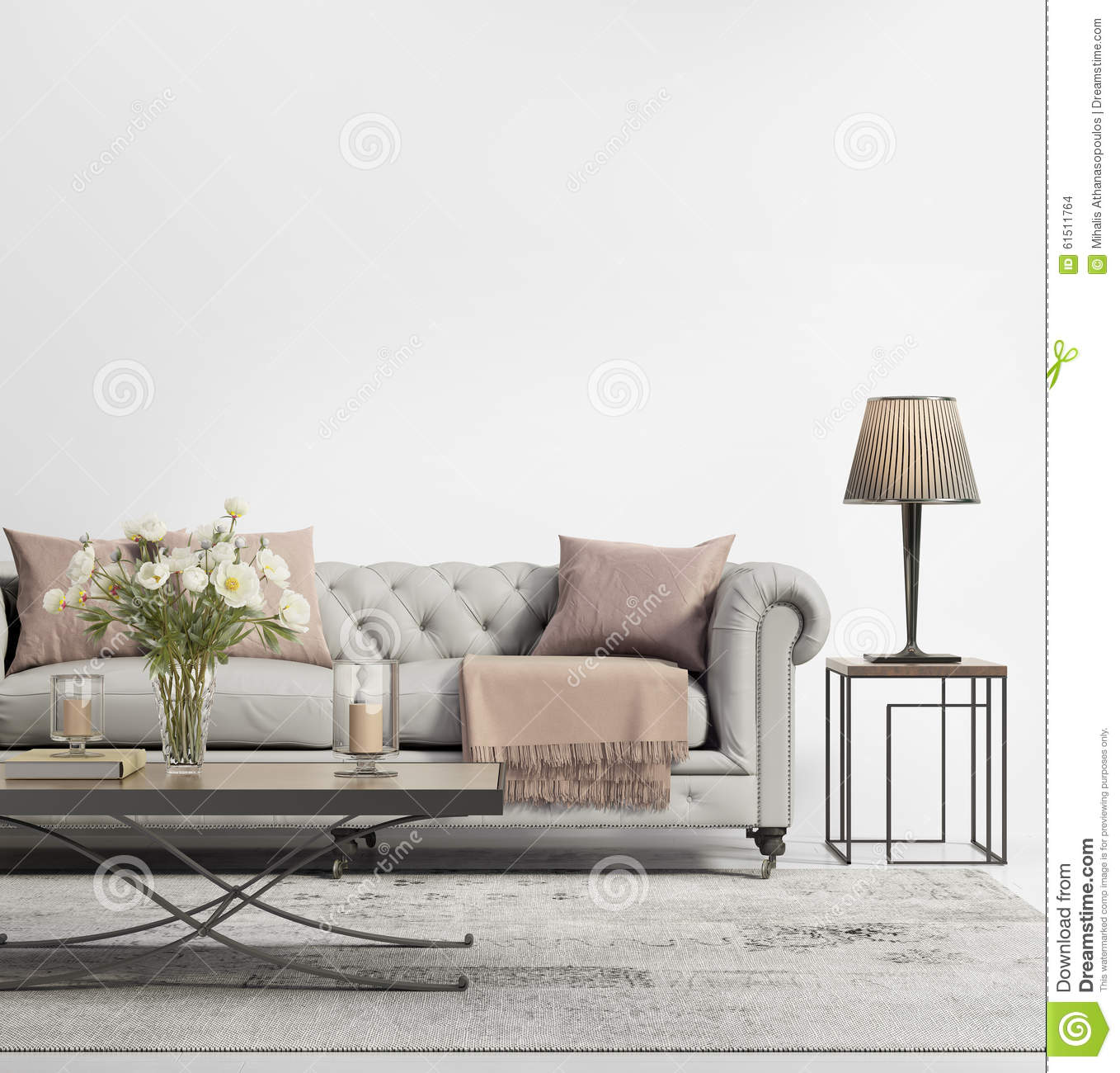 contemporary elegant chic living room with grey tufted sofa stock