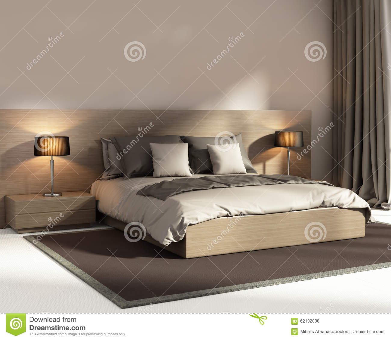 Contemporary Elegant Dark Beige Luxury Bedroom Stock Photo