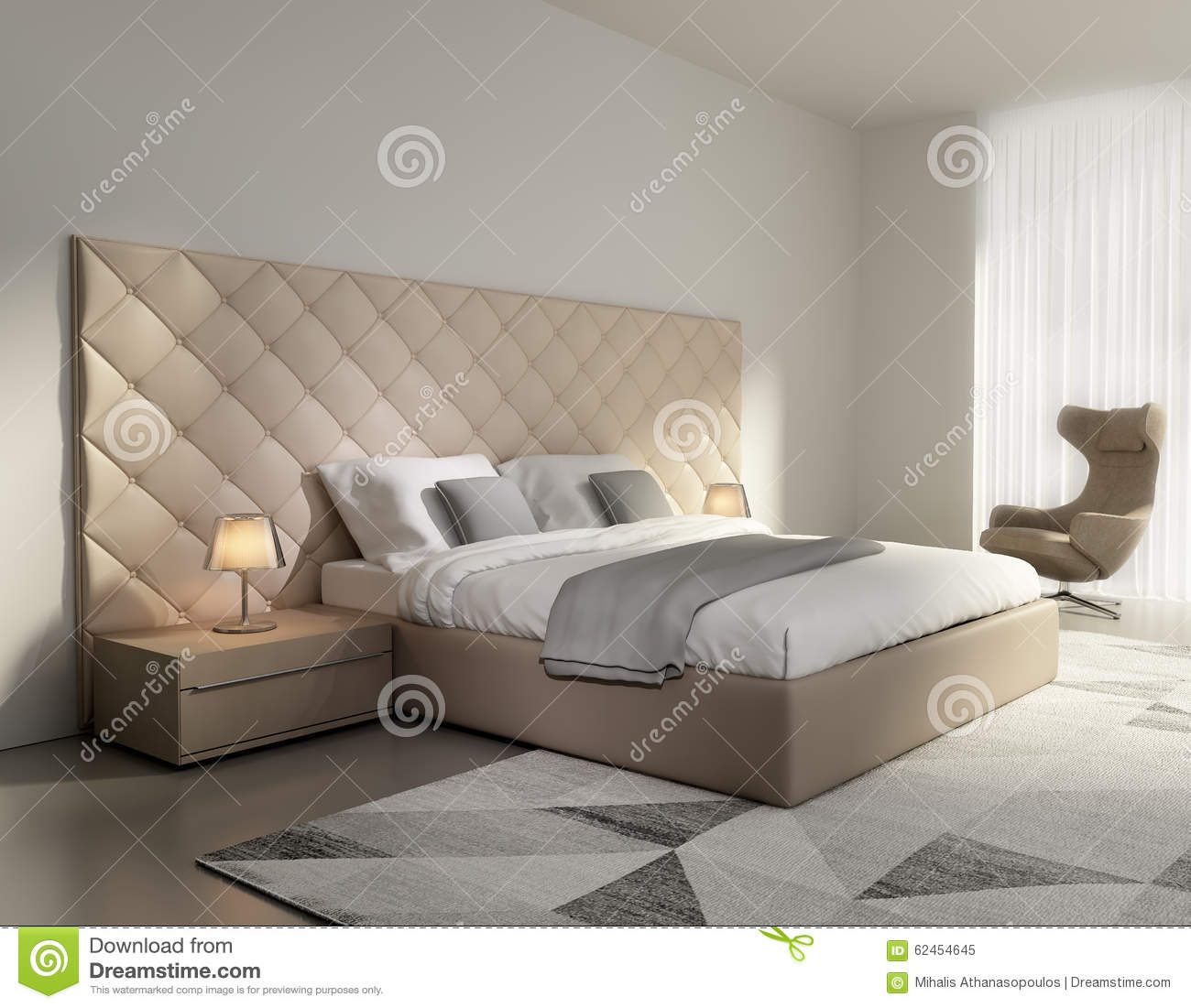 Contemporary elegant luxury beige leather bedroom stock for Chambre blanc beige