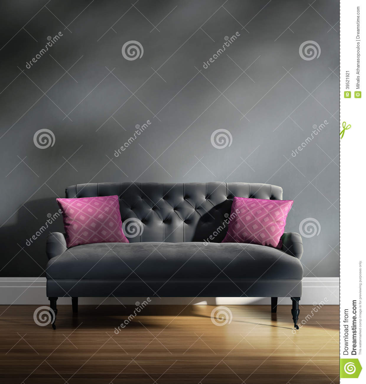 Contemporary Elegant Luxury Grey Velvet Sofa With Pink