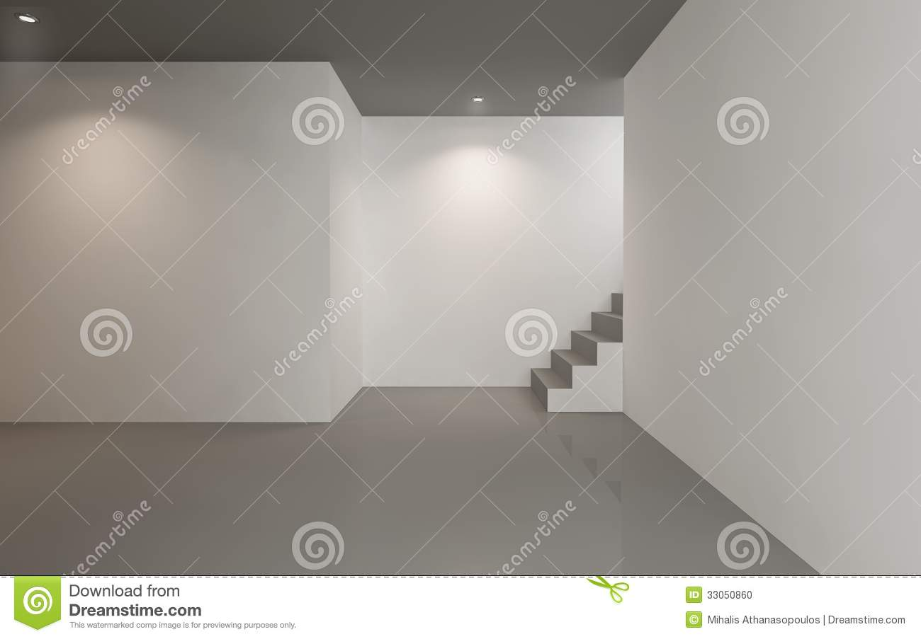 contemporary empty gallery space stock photo - image of advertising