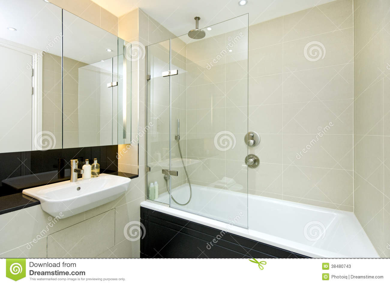 Contemporary Ensuite Bathroom Stock Image - Image of glass, flat ...