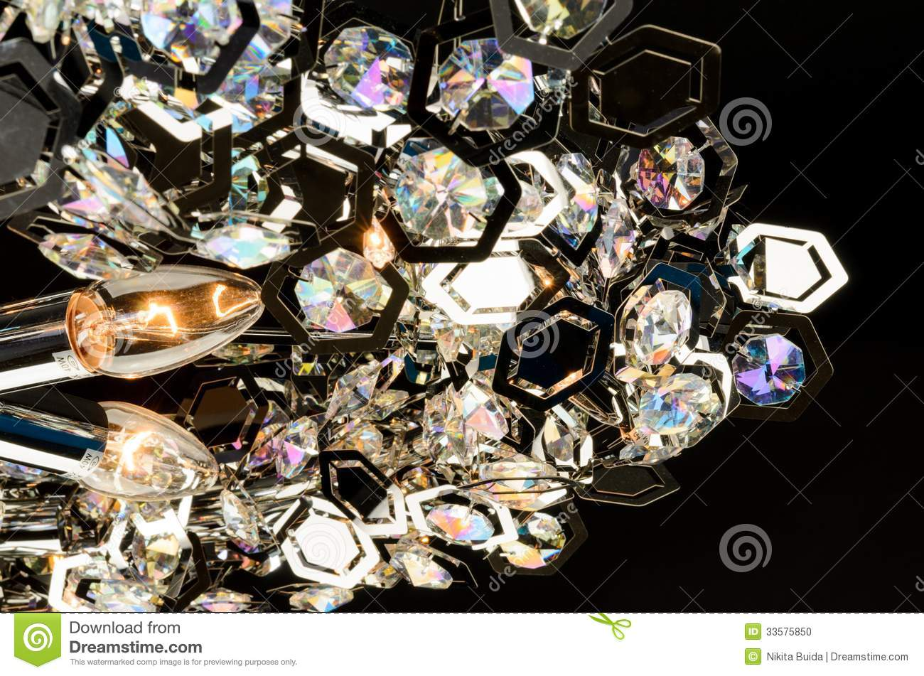 Contemporary Glass Chandelier Fragment Stock Photo Image