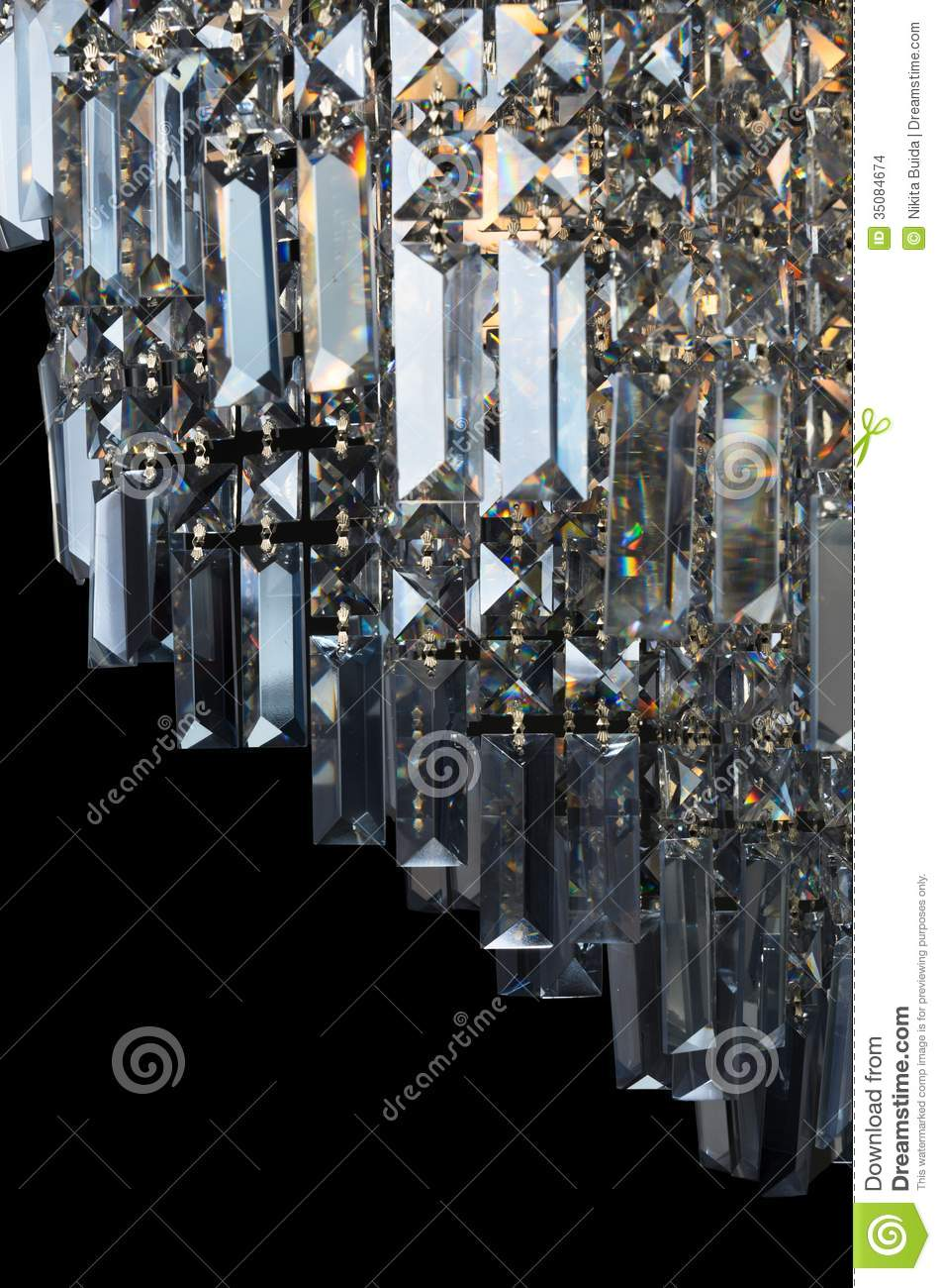 Contemporary Glass Chandelier Fragment Stock Photo