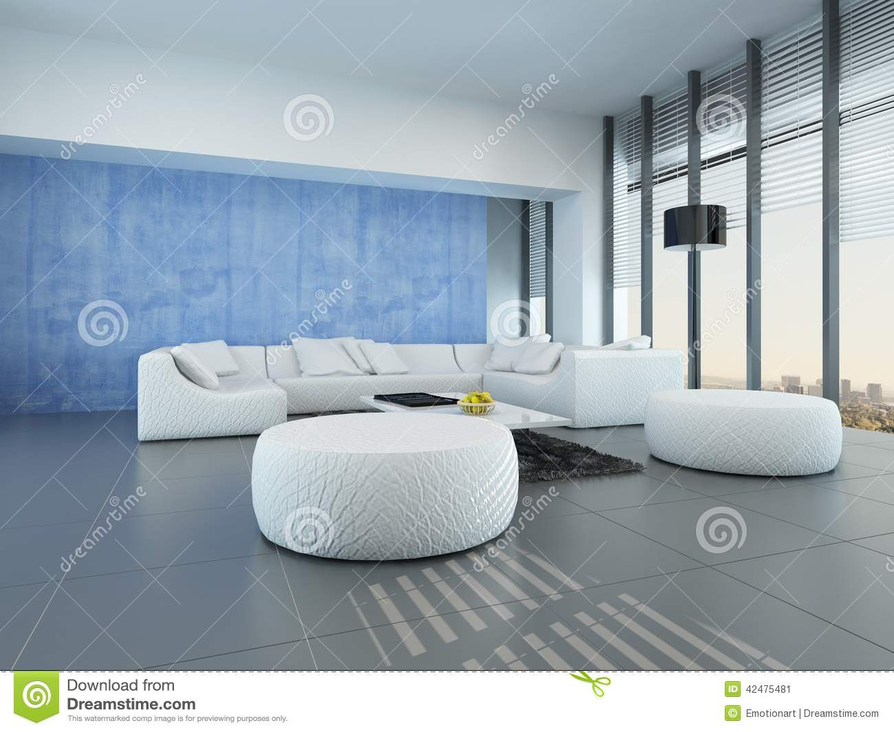 Blue and white living room - Contemporary Grey Blue And White Living Room