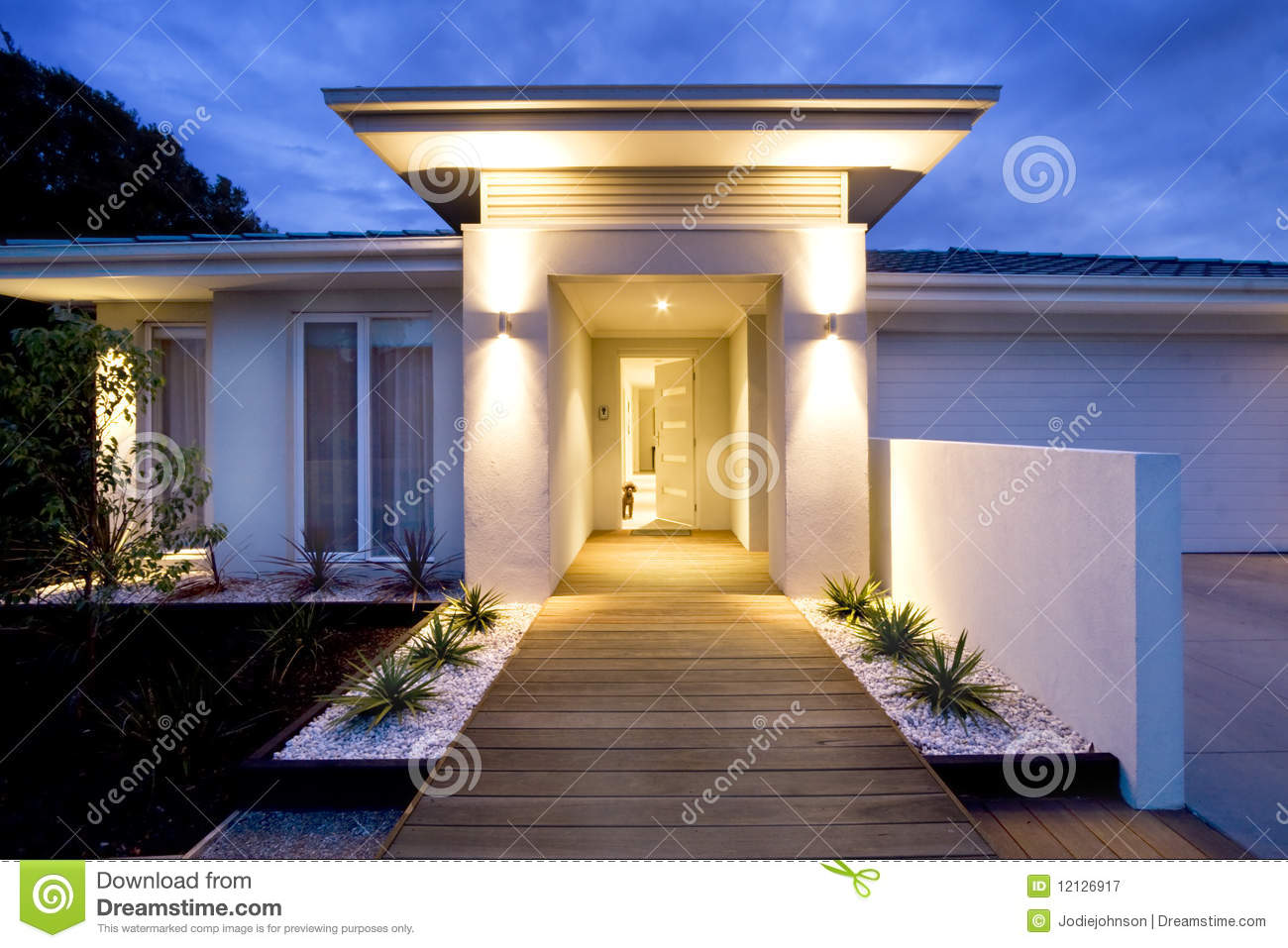 contemporary home front entrance stock image