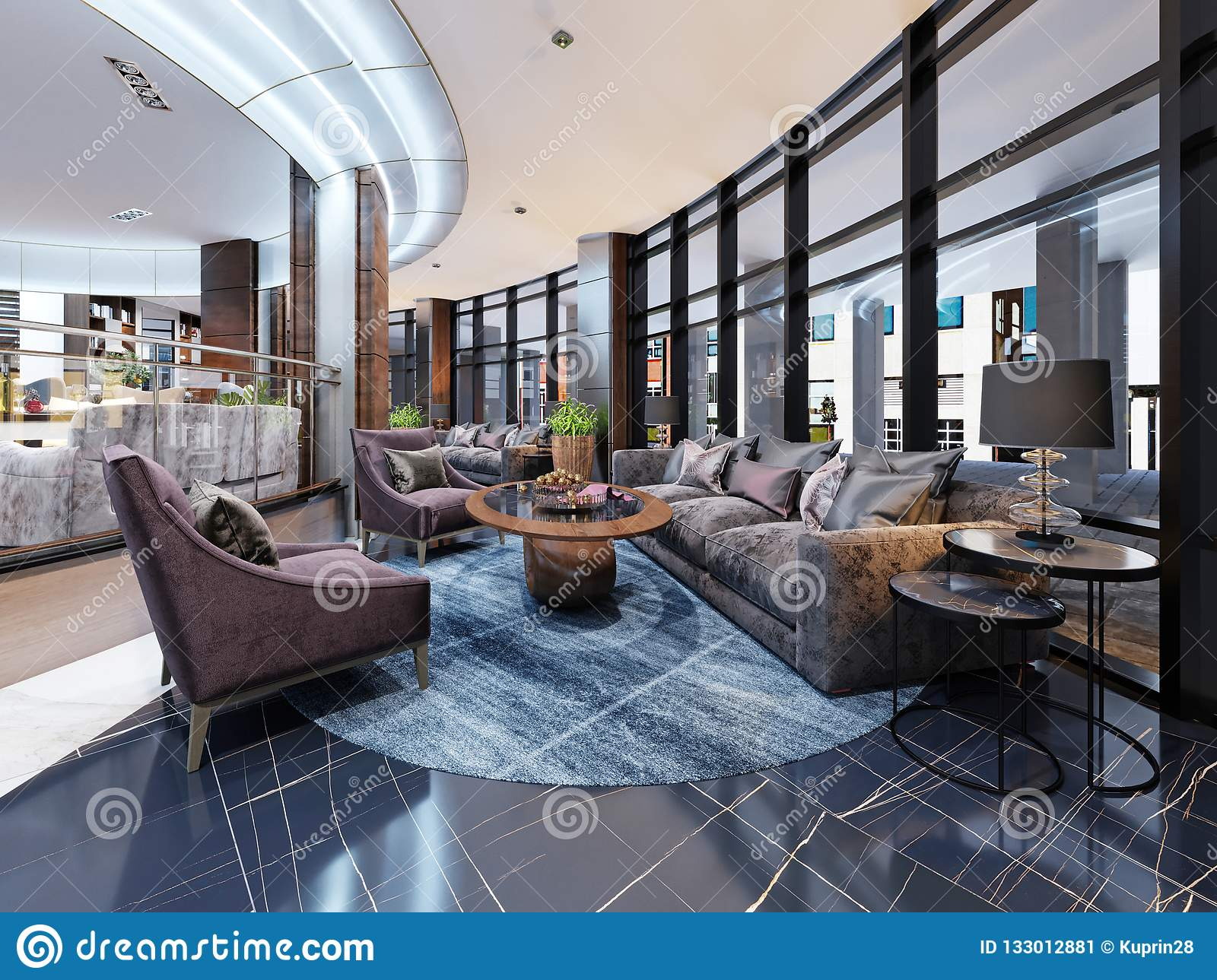 Contemporary Hotel Interior Design, Hotel Lobby, Rest Area With Comfortable Modern Furniture