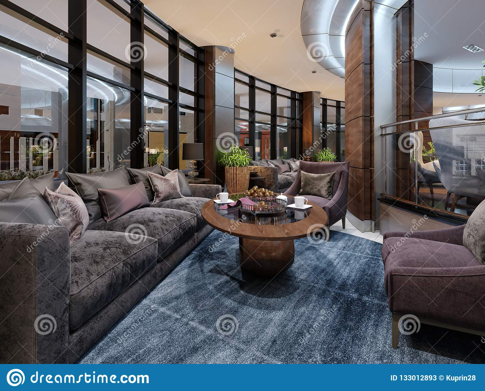 Contemporary Hotel Interior Design Hotel Lobby Rest Area With