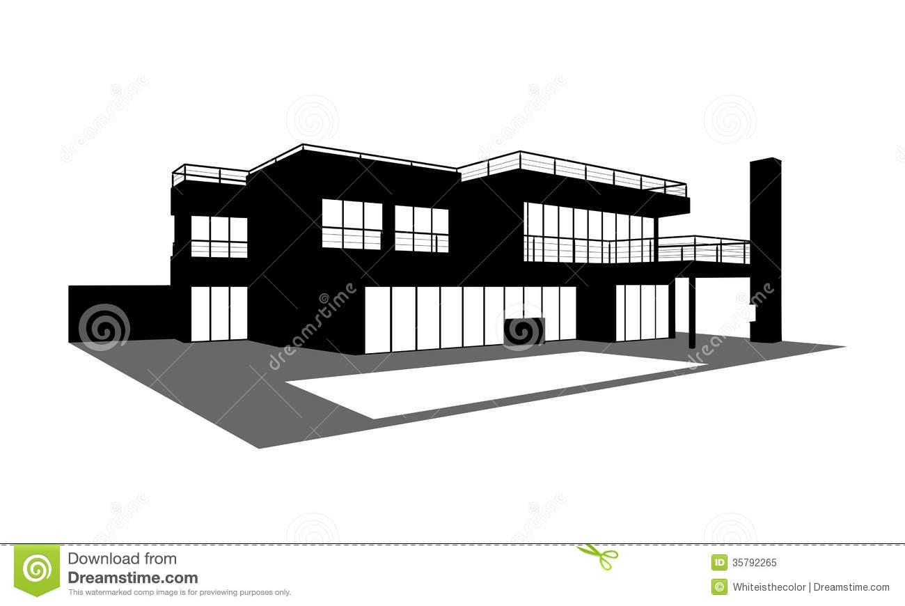 Contemporary house with a swimming pool silhouette royalty free stock