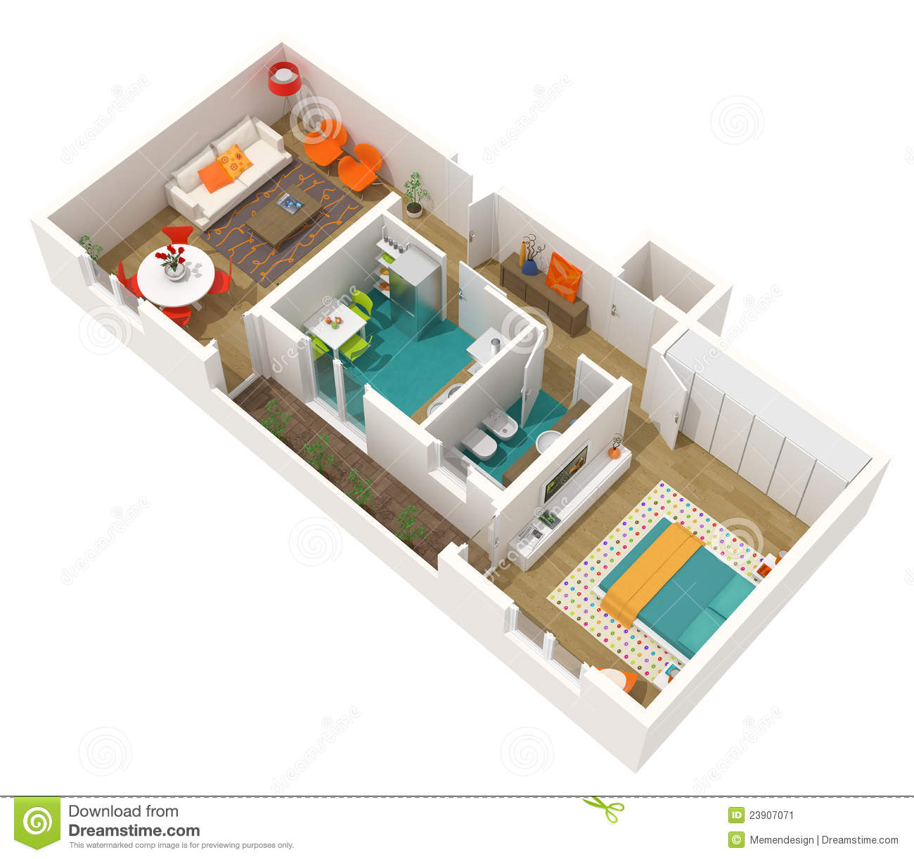 Contemporary Interior Design - 3d Home Project Stock Illustration ...