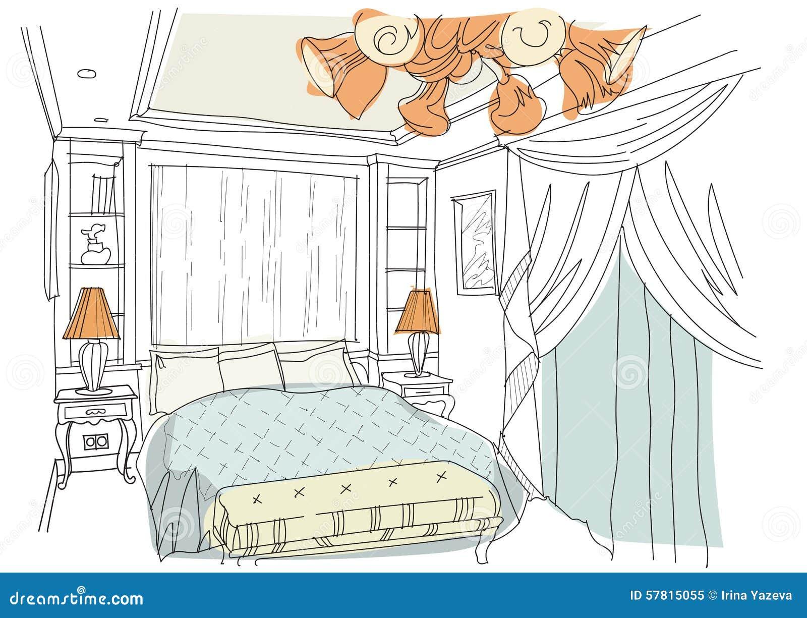 Contemporary interior doodles bedroom stock vector for Interior design bedroom drawing