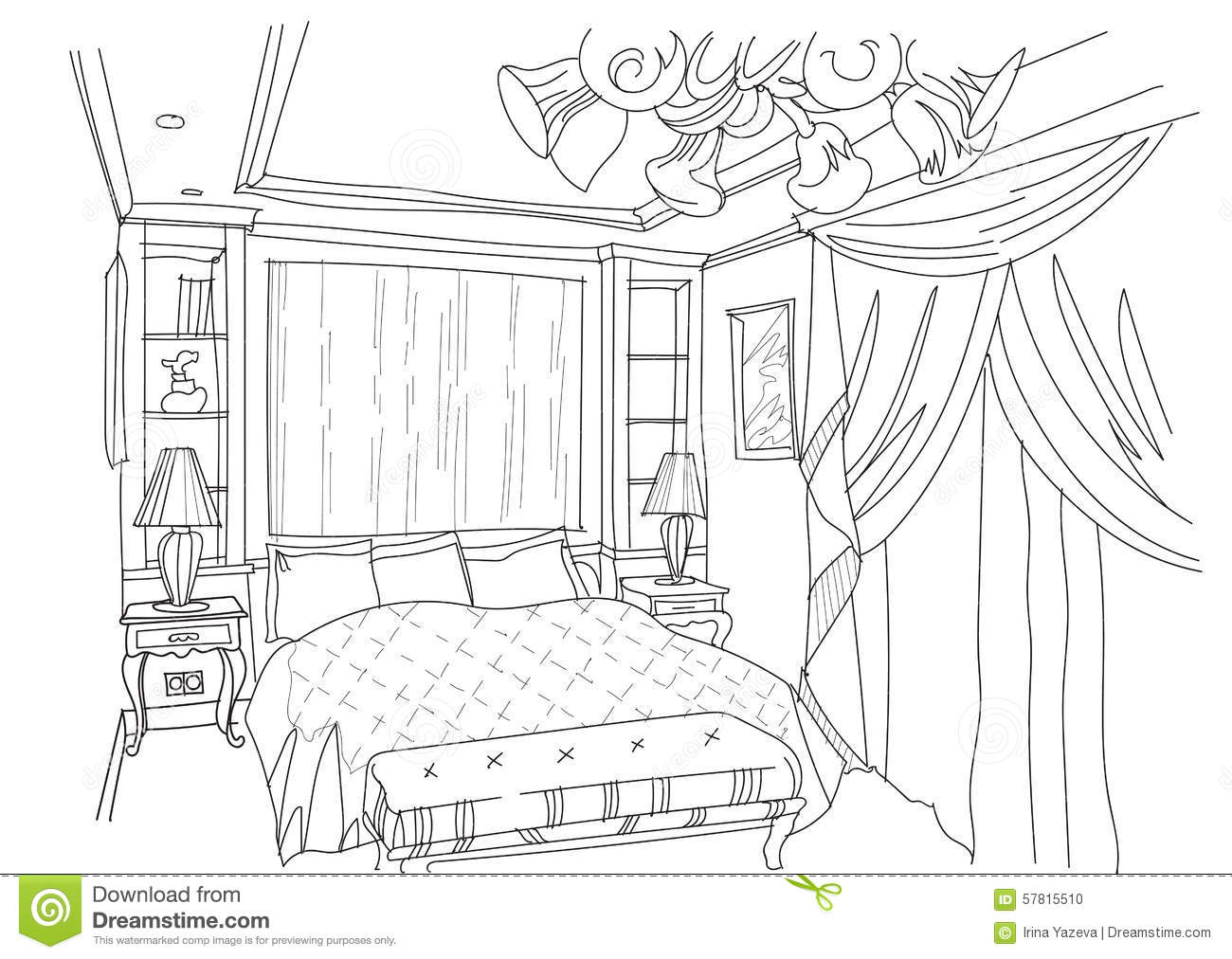contemporary interior doodles bedroom stock vector