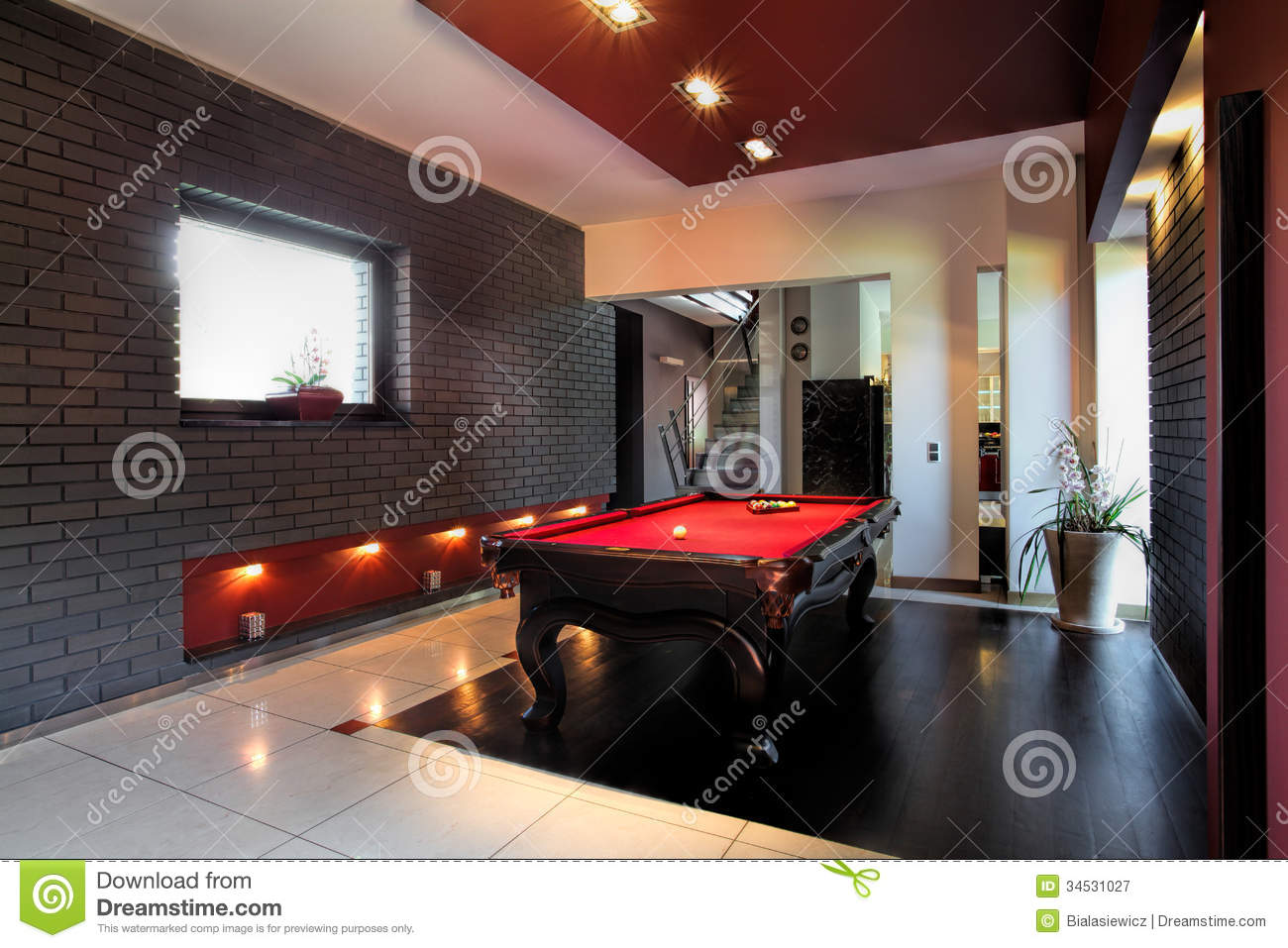 Contemporary Interior With A Snooker Table Stock Image
