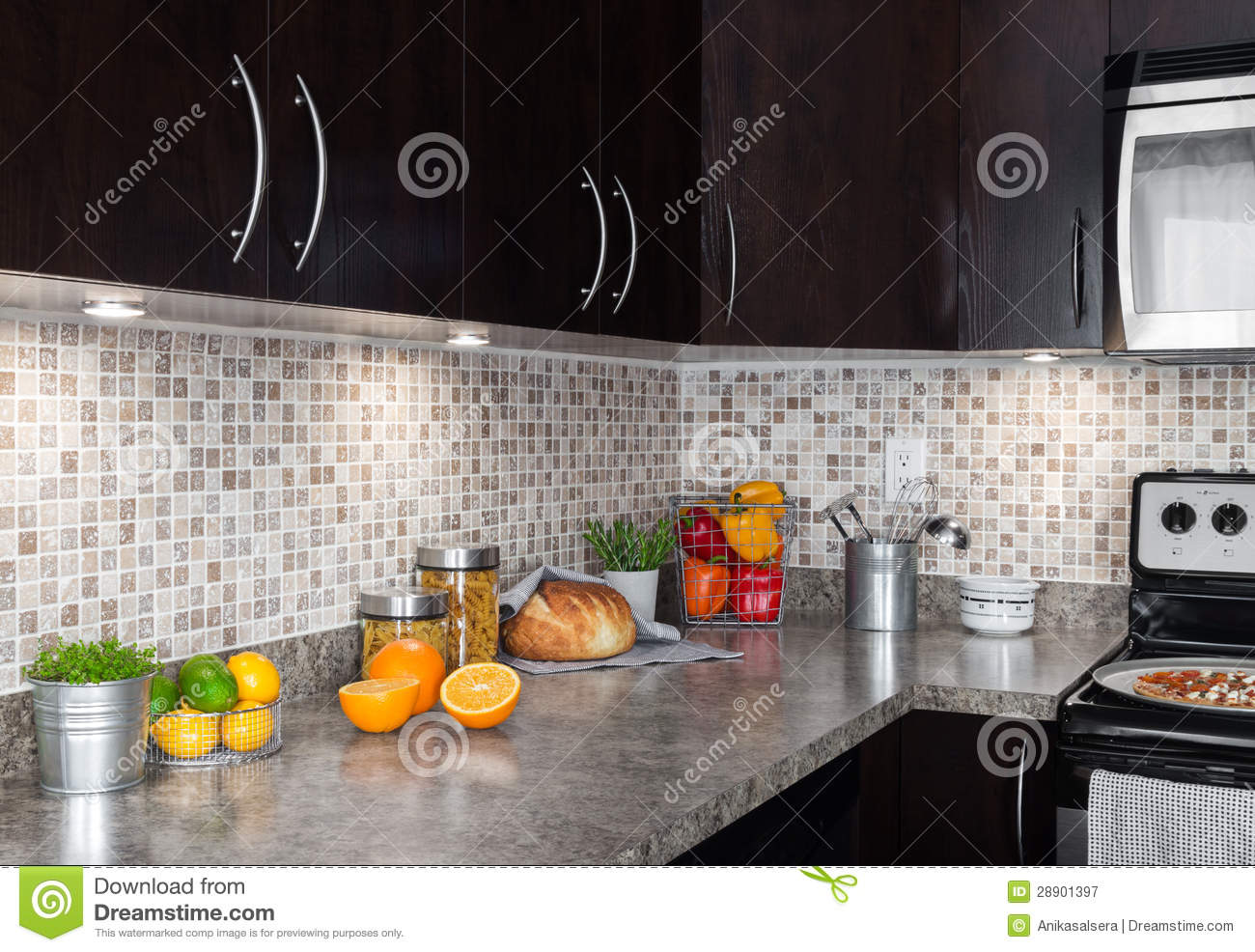 Kitchen With Food kitchen countertop with food ingredients and herbs stock