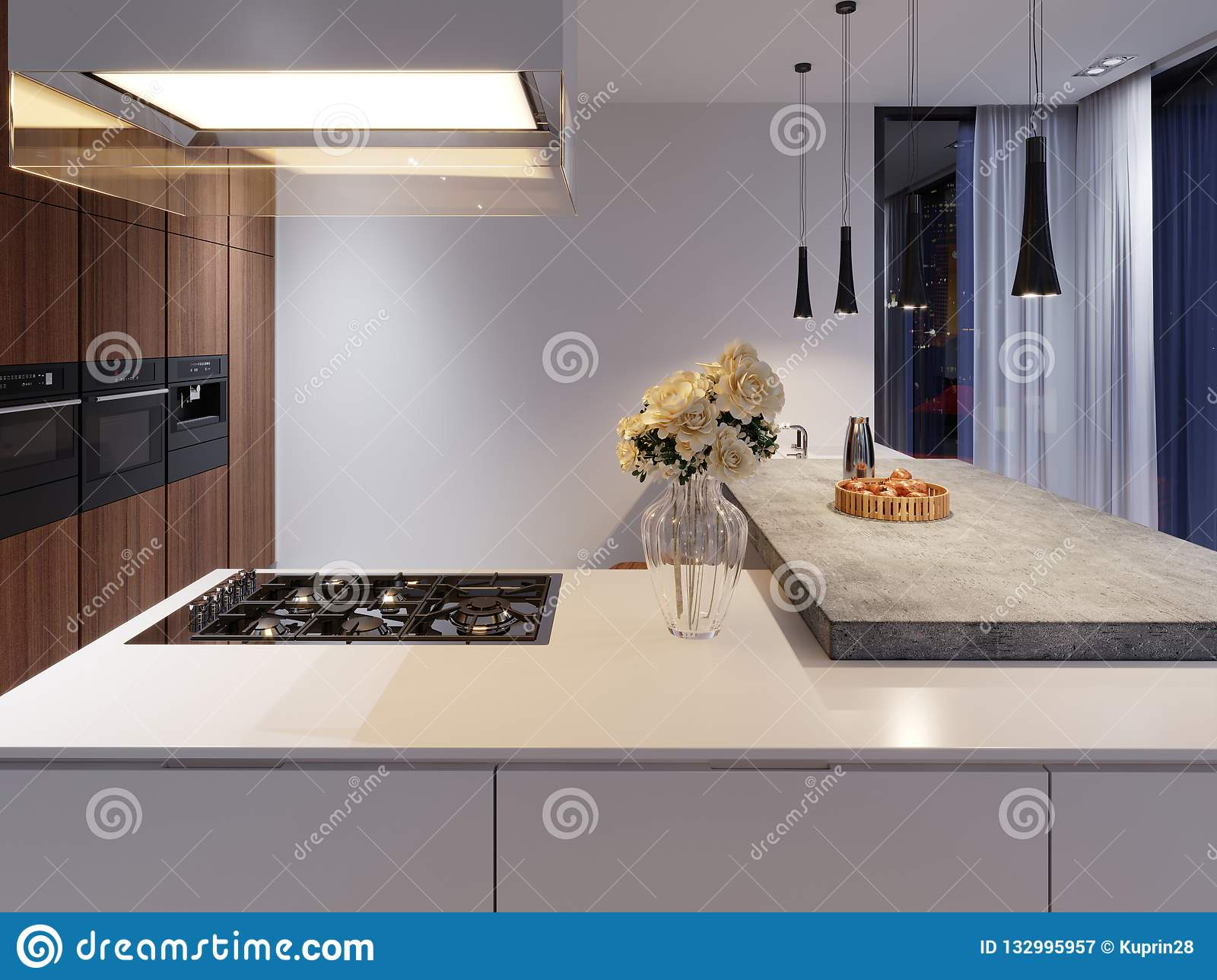 Contemporary Kitchen With Hob And Built In Appliances White And Hardwood Facade Concrete Table Top Bar Stock Illustration Illustration Of Appliances Appliance 132995957