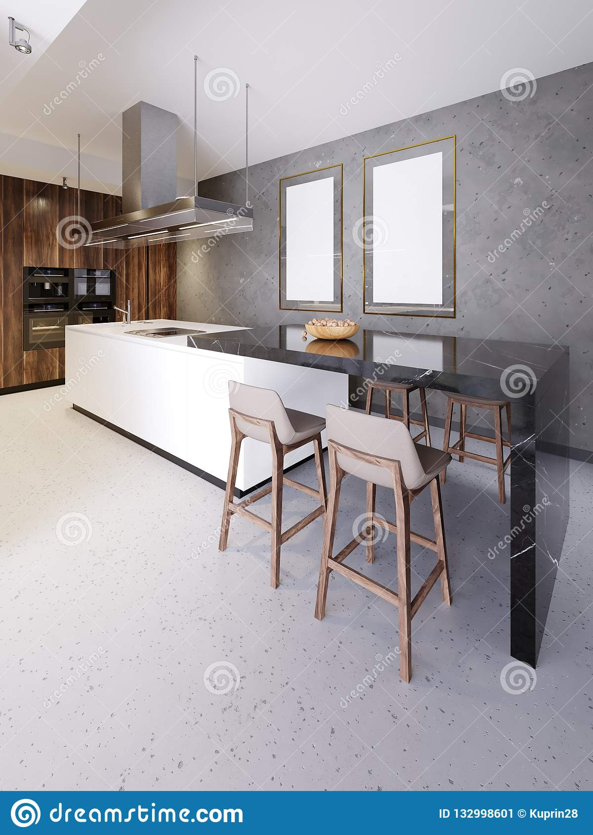Contemporary Kitchen Interior With Brown And White Furniture Design