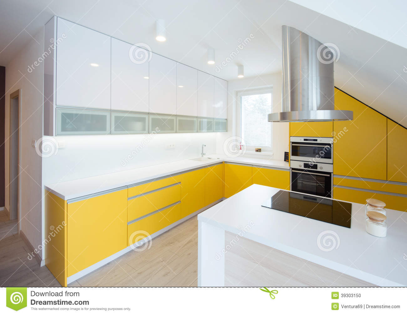 Yellow And White Kitchen Contemporary Kitchen Interior Stock Photo Image 39303150