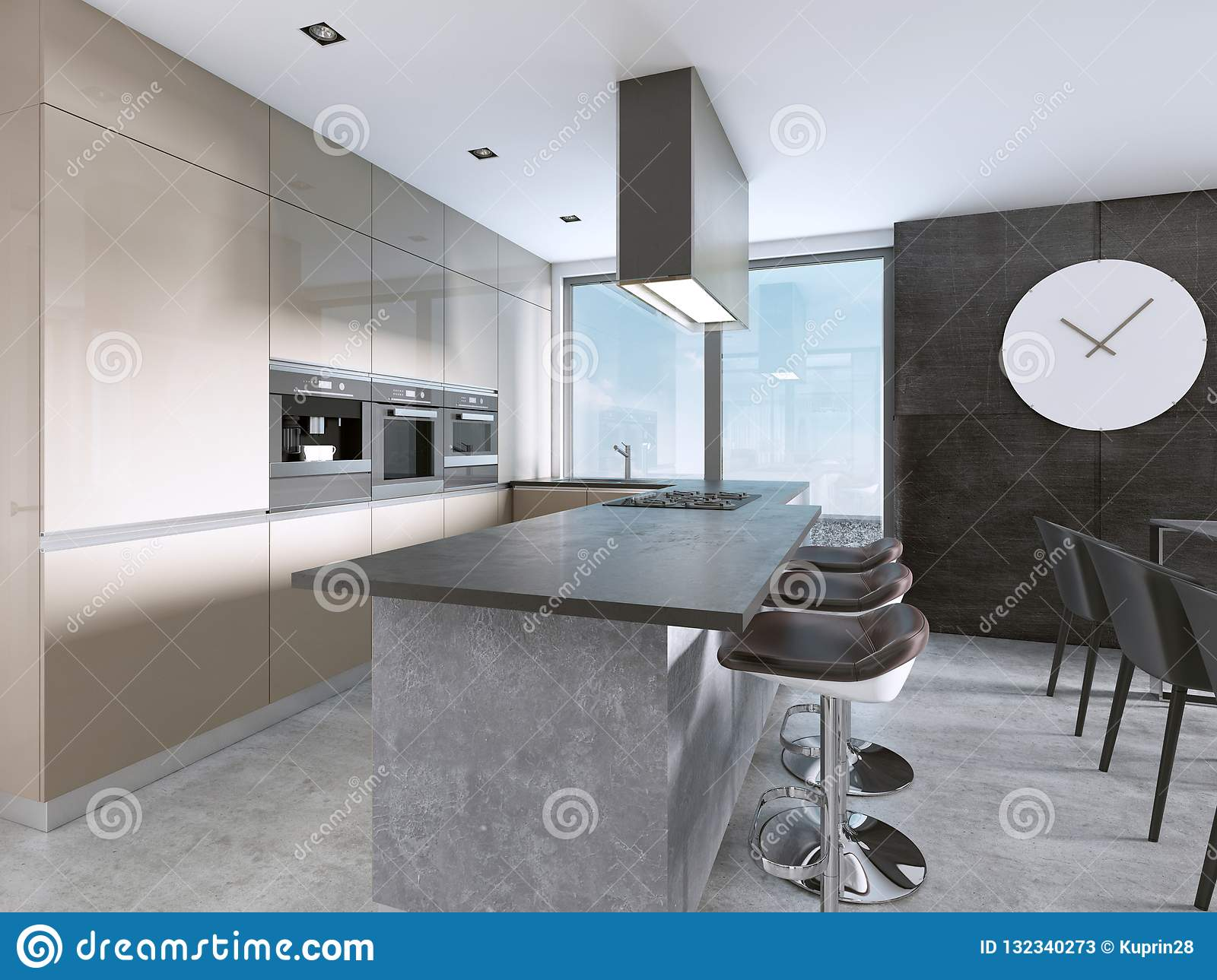 Contemporary Kitchen With Large Windows And Island With Bar
