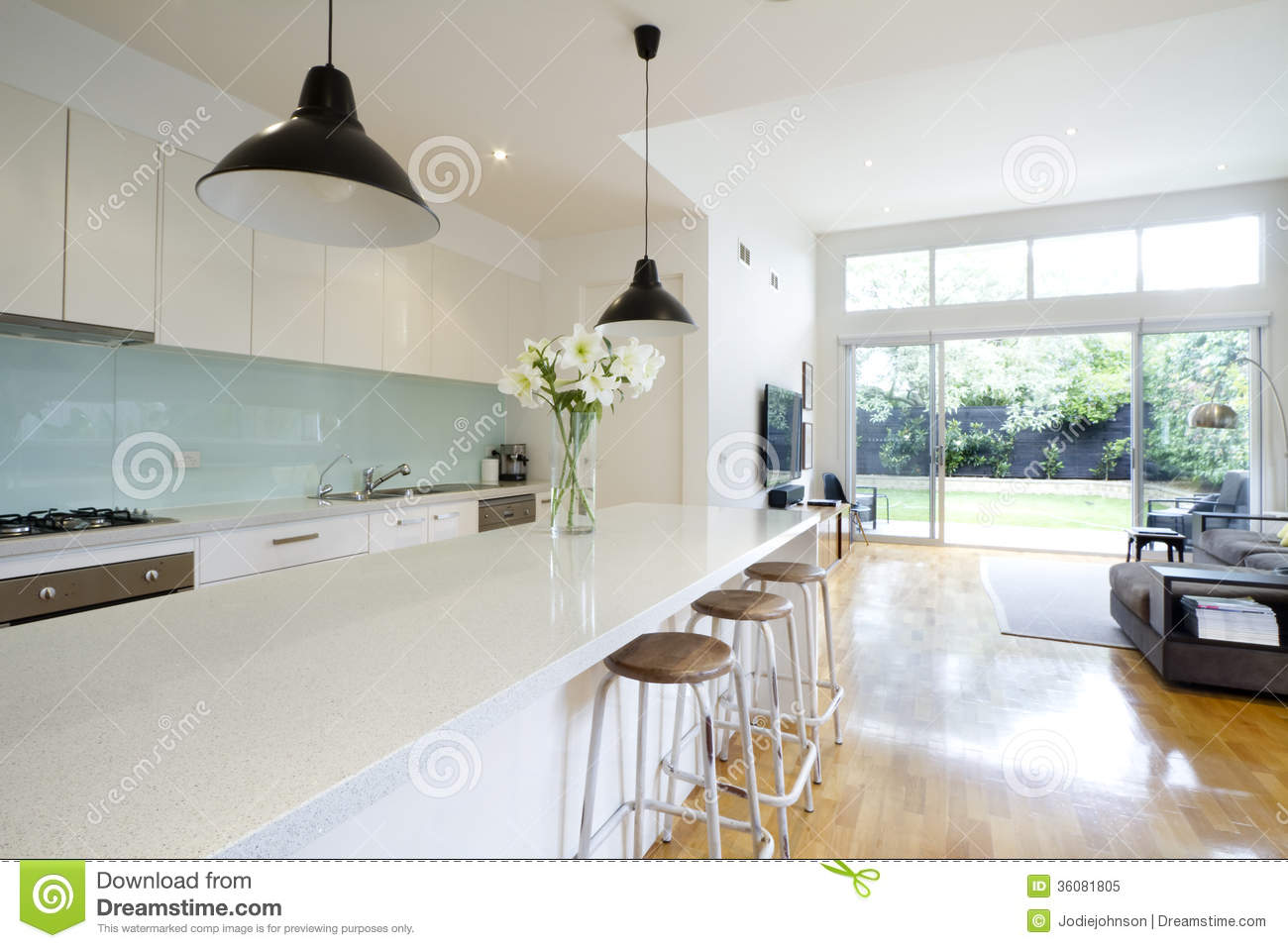 Contemporary Kitchen Living Room Stock Image - Image of contemporary ...