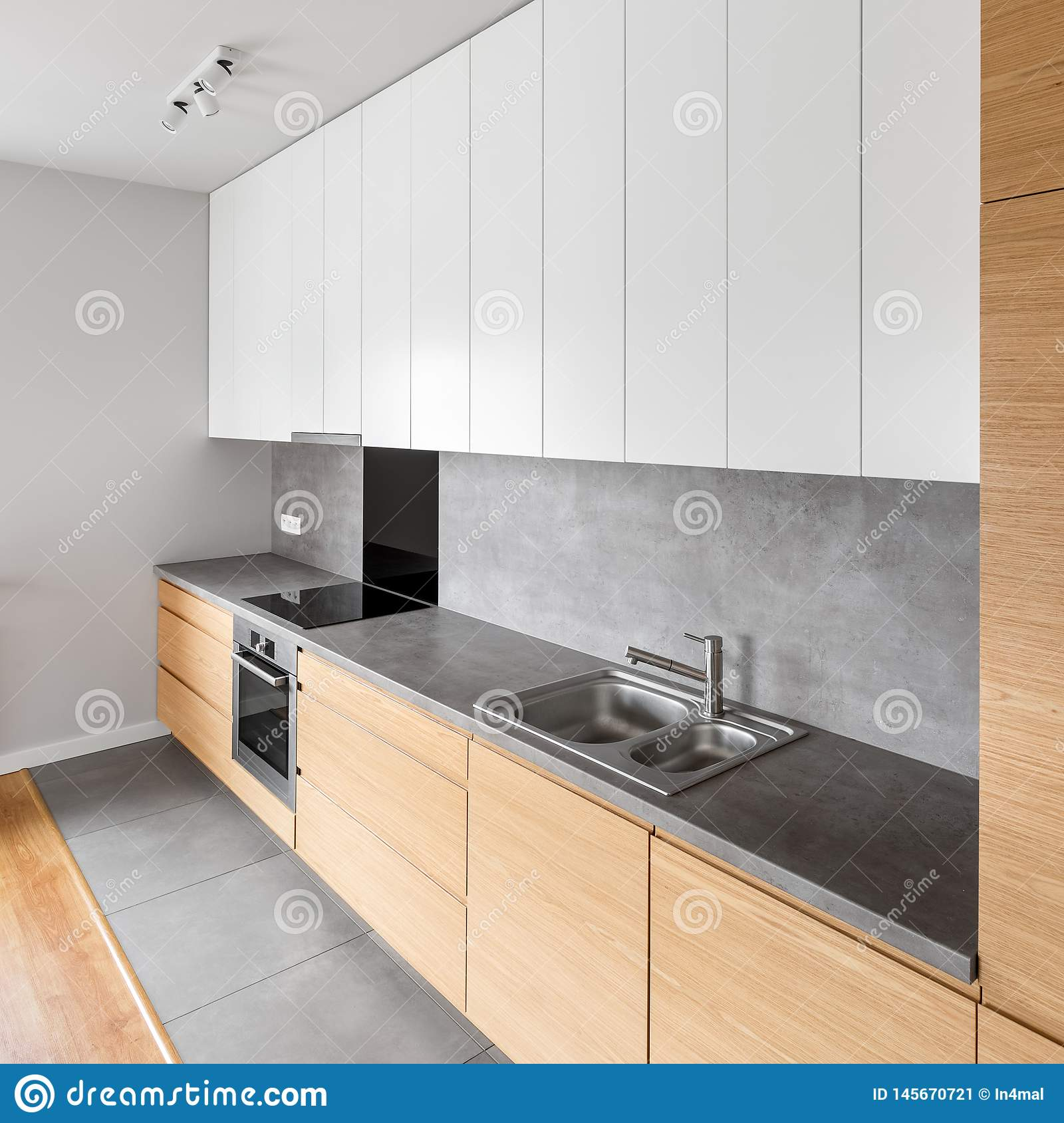 Contemporary Kitchen In White And Gray Stock Image Image Of Elegant Empty 145670721,Easy Plants To Grow Indoors From Seeds