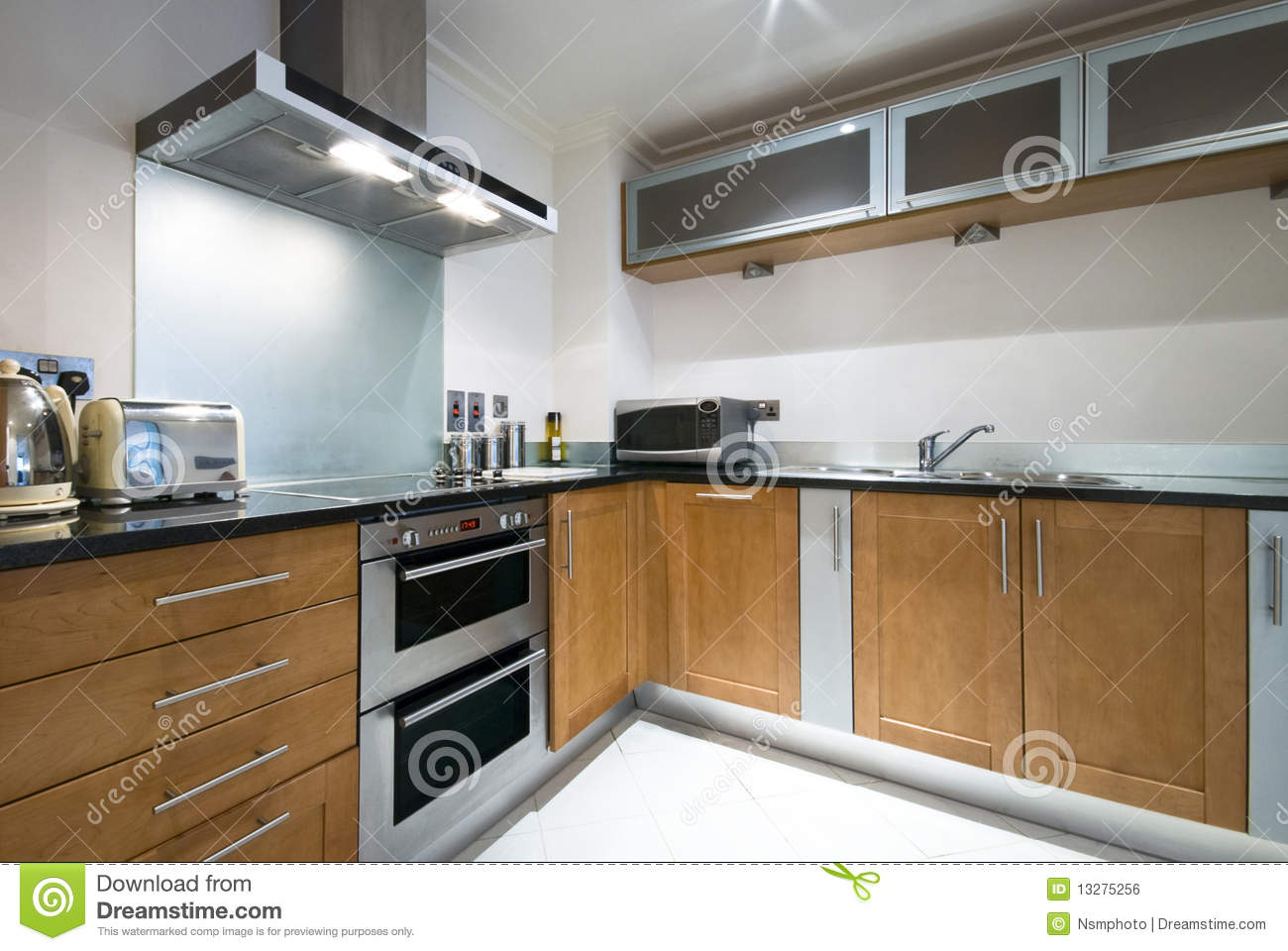 contemporary kitchen with modern appliances royalty free stock image
