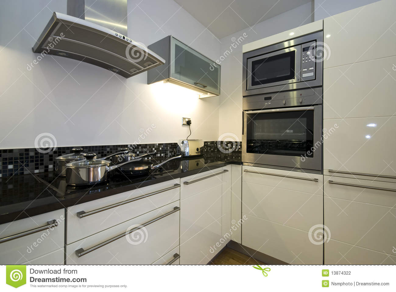 Contemporary Kitchen With Modern Appliances Stock