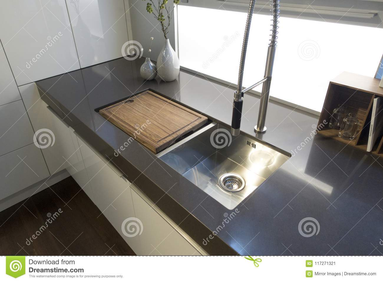Kitchen Cabinets White Modern Double Sinks And Wood Cutting Bb Stock Image Image Of Doubled Modern 117271321