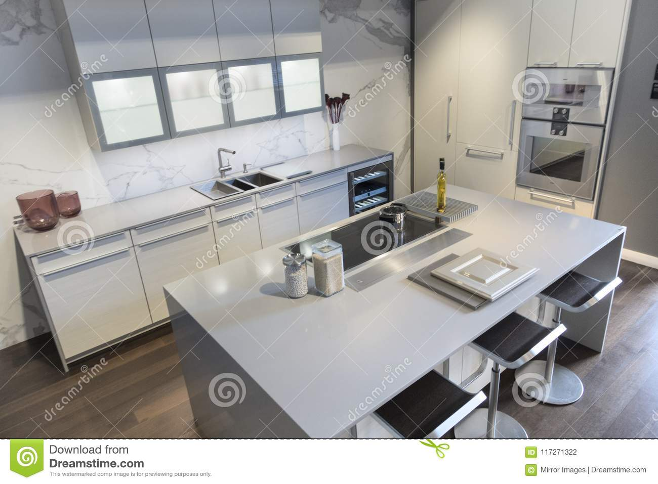 Kitchen Cabinets White Modern With Windows And Stools