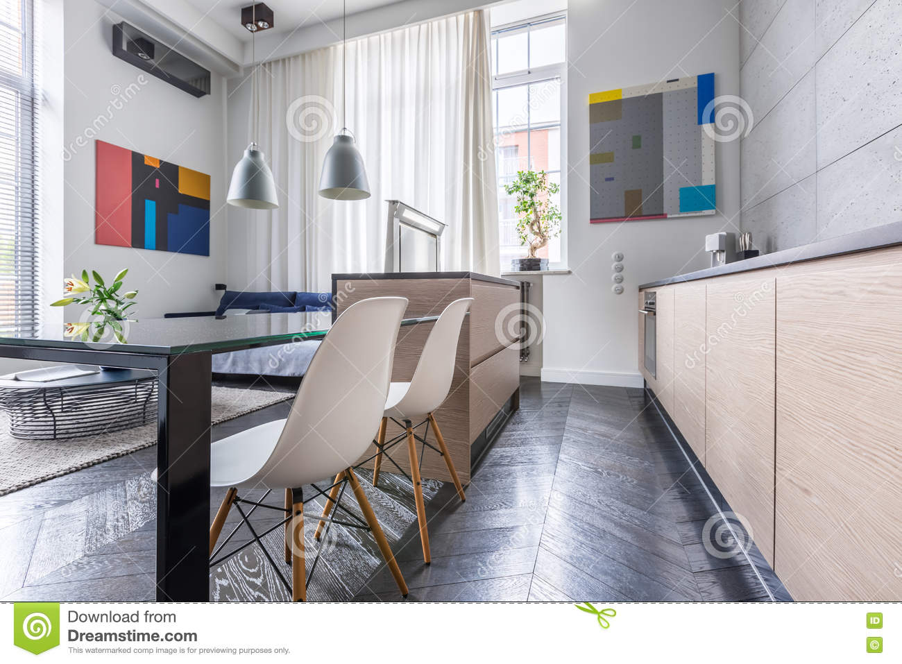 Contemporary Kitchen With Table Stock Photo - Image of ...