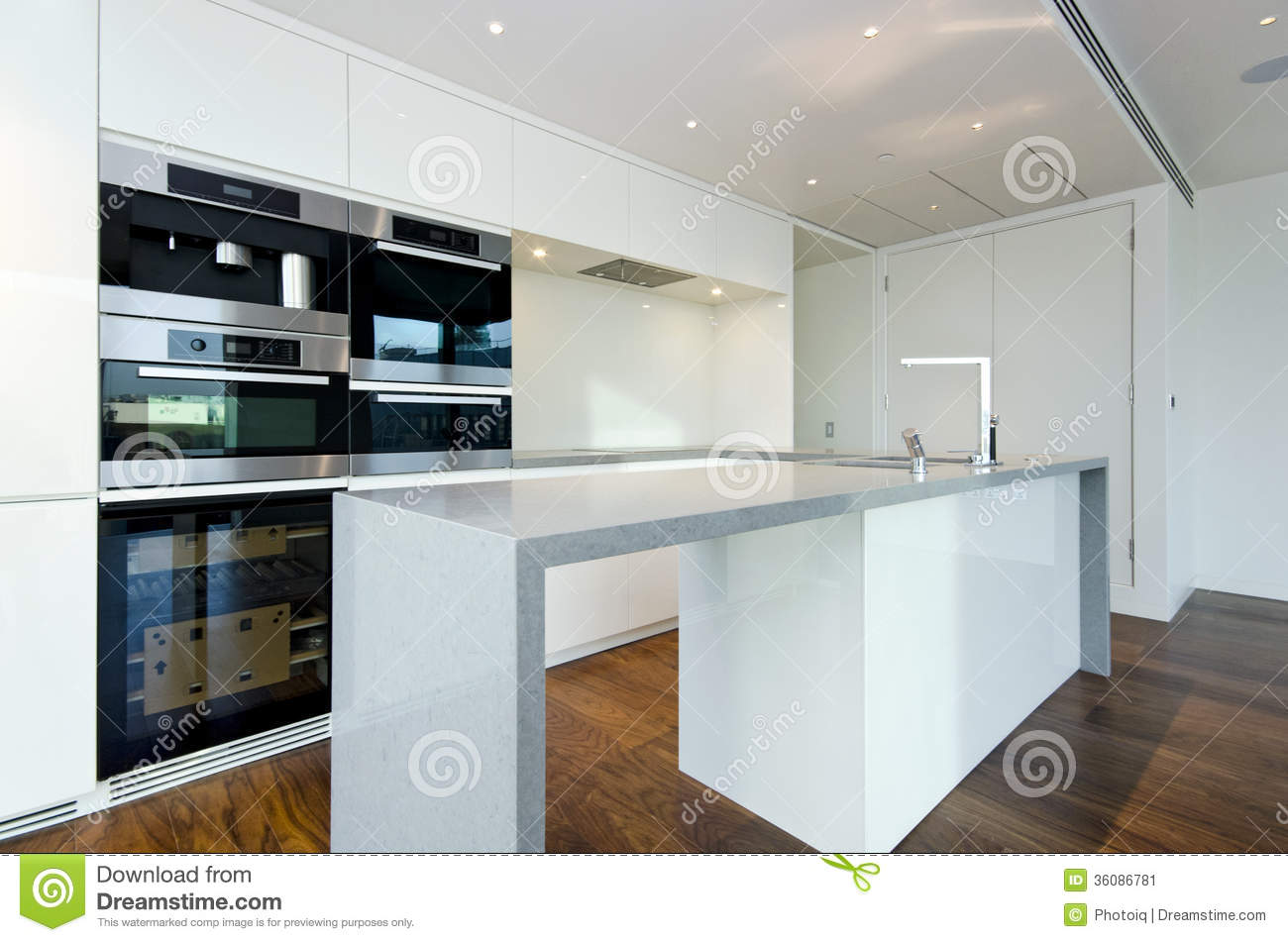 Contemporary Kitchen With Top Spec Appliances Stock Image - Image of ...