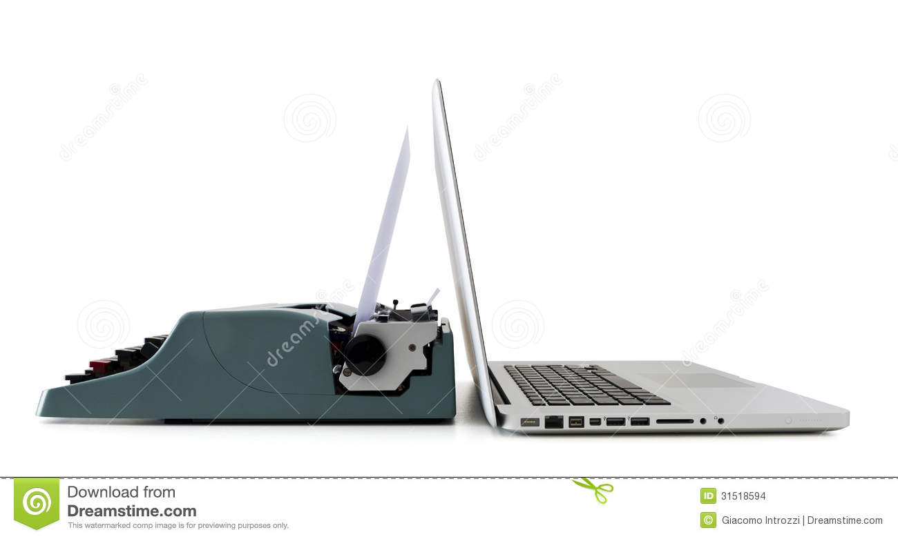 contemporary laptop vs old typewriter stock images image Scetch Typewriter Typewriter Illustration