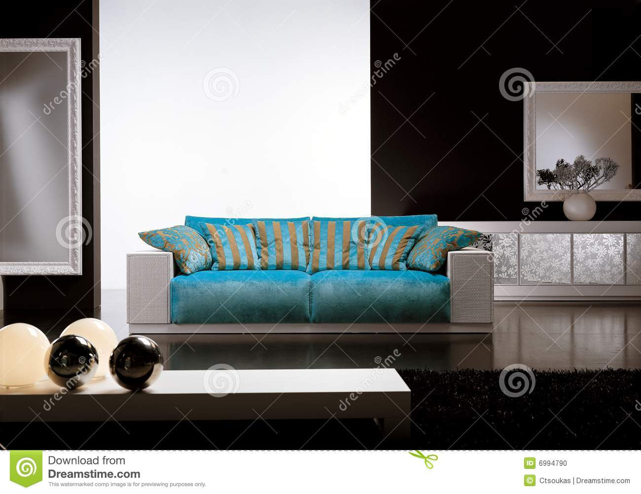 Blue Sofa In A Luxurious Living Room With Details