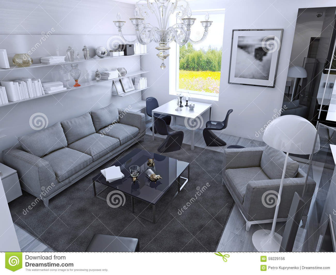 Contemporary living room in daylight room with dining table in gothic style light grey furniture wet asphalt color carpet on laminate flooring