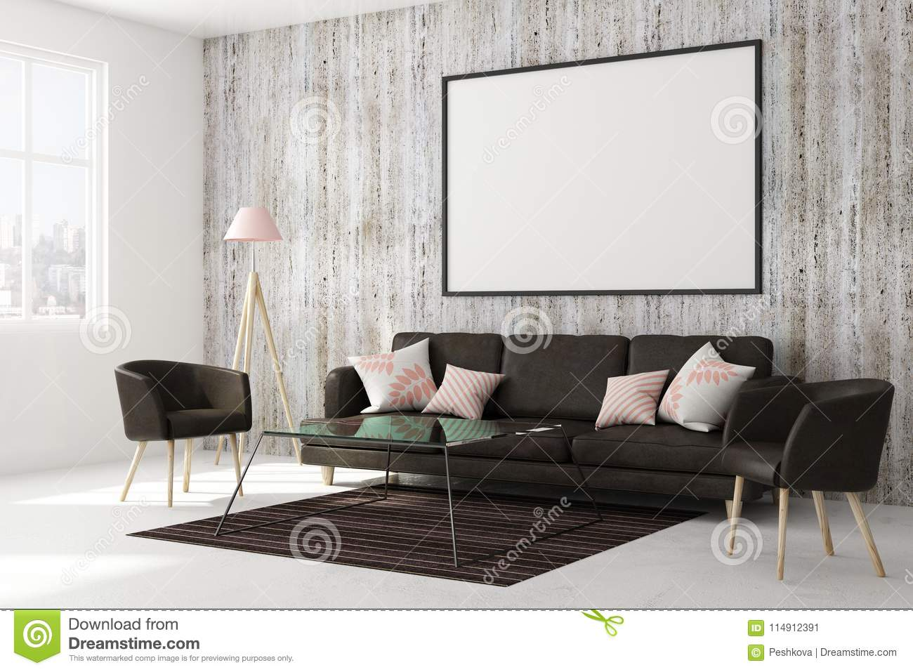 Contemporary Living Room With Empty Banner Stock ...