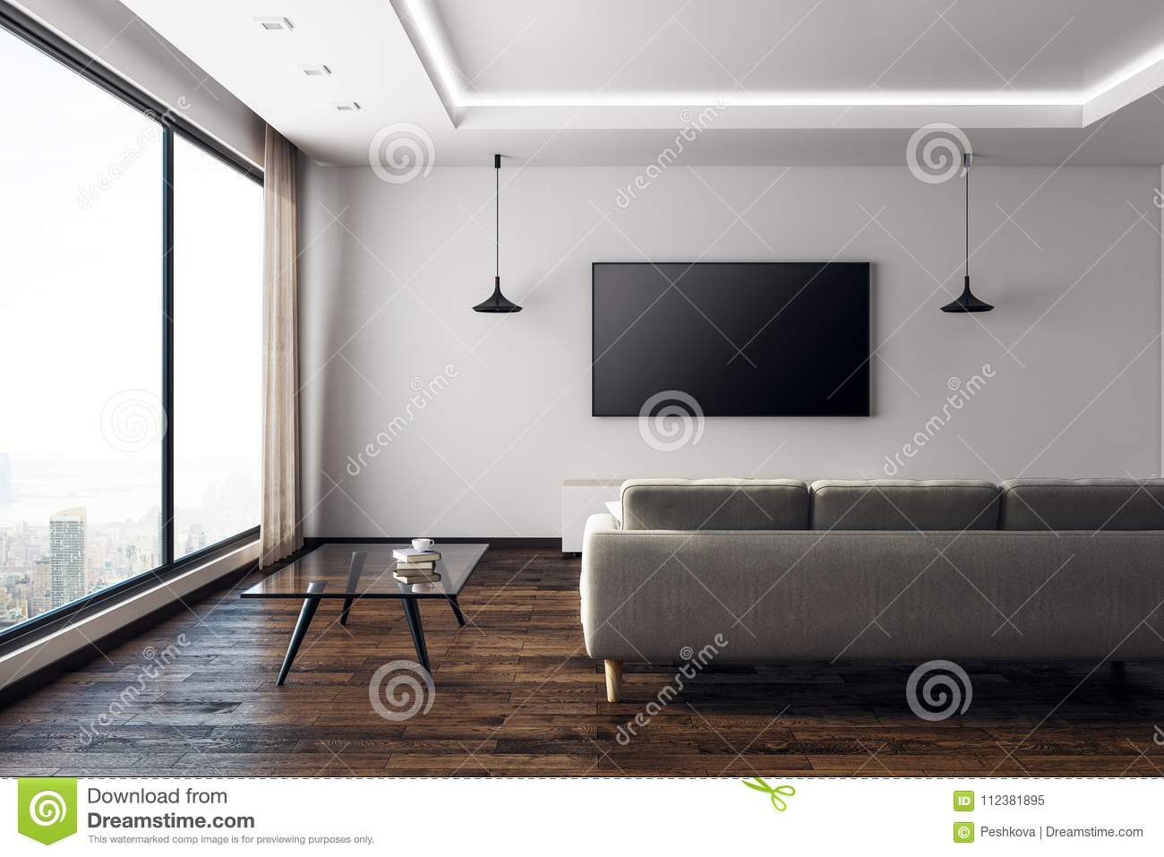 Contemporary Living Room With Empty Tv Front Stock Illustration Illustration Of Couch Daylight 112381895