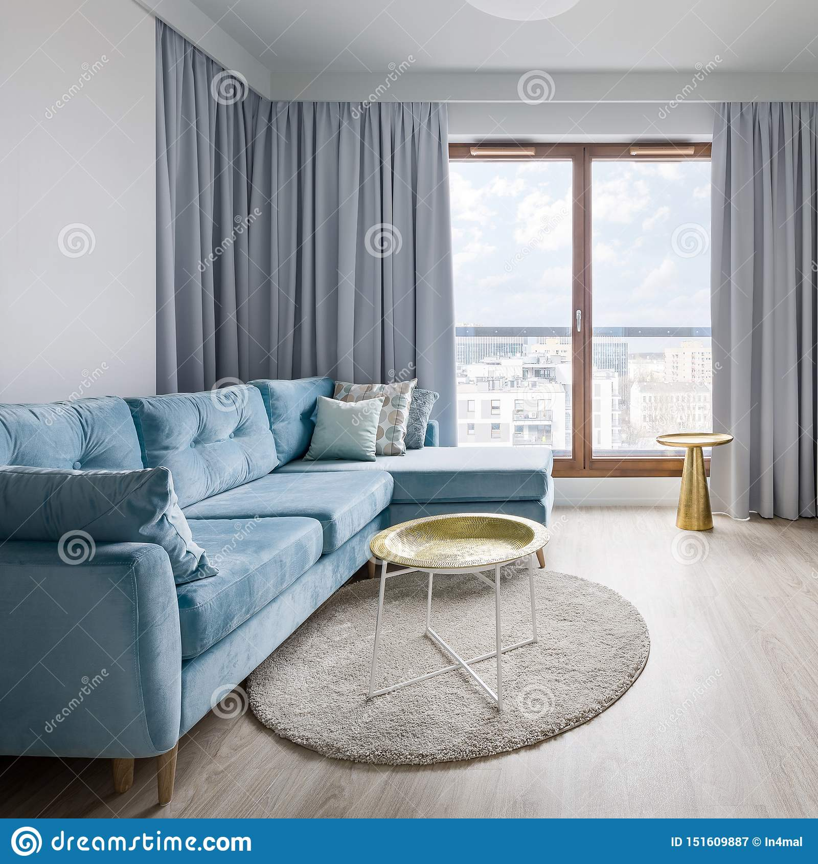 Contemporary Living Room In Gray Stock Image Image Of Interior