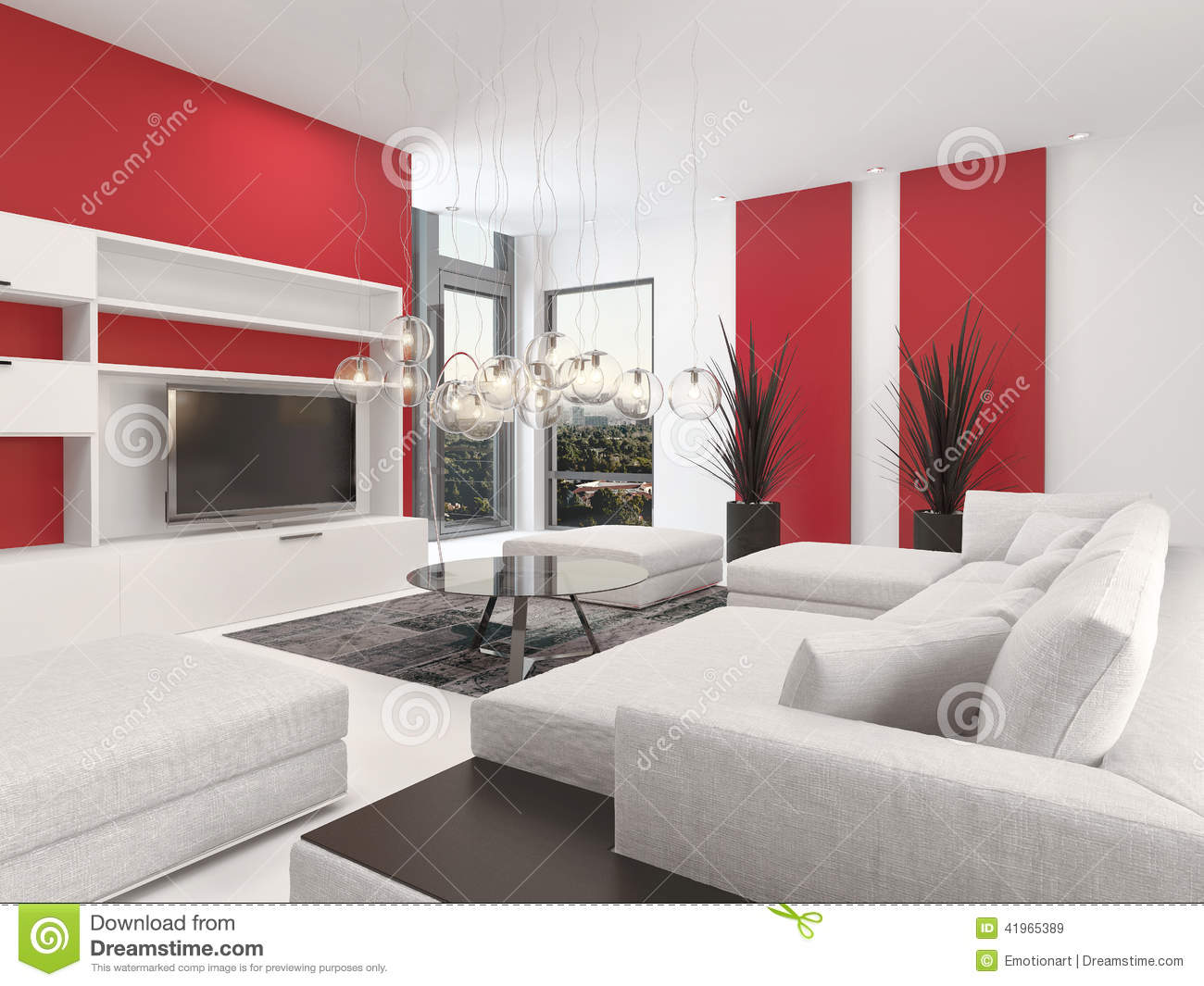 Contemporary living room interior with red accents stock Red accents for living room