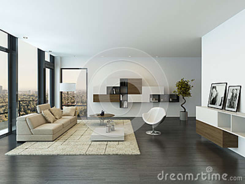 Contemporary living room loft interior stock photography for Nice modern living room furniture