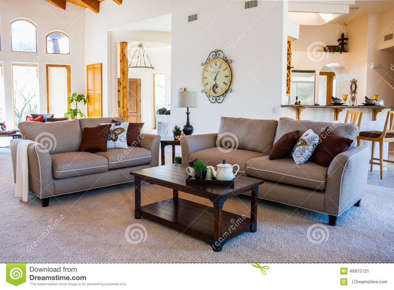 Contemporary living room stock photo image 46975731 for Plush living room furniture
