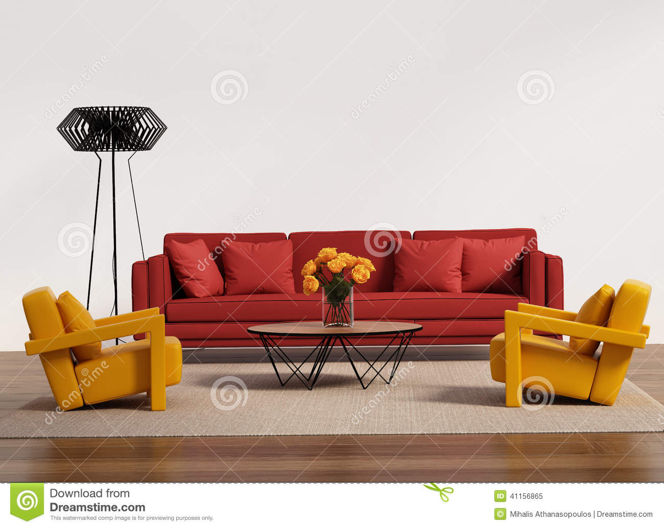 Contemporary Living Room With Red Sofa Stock Photo Image 41156865
