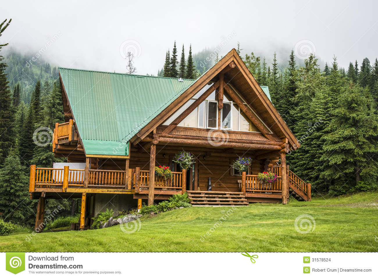 Contemporary log cabin lodge stock photo image of resort for Modern log house