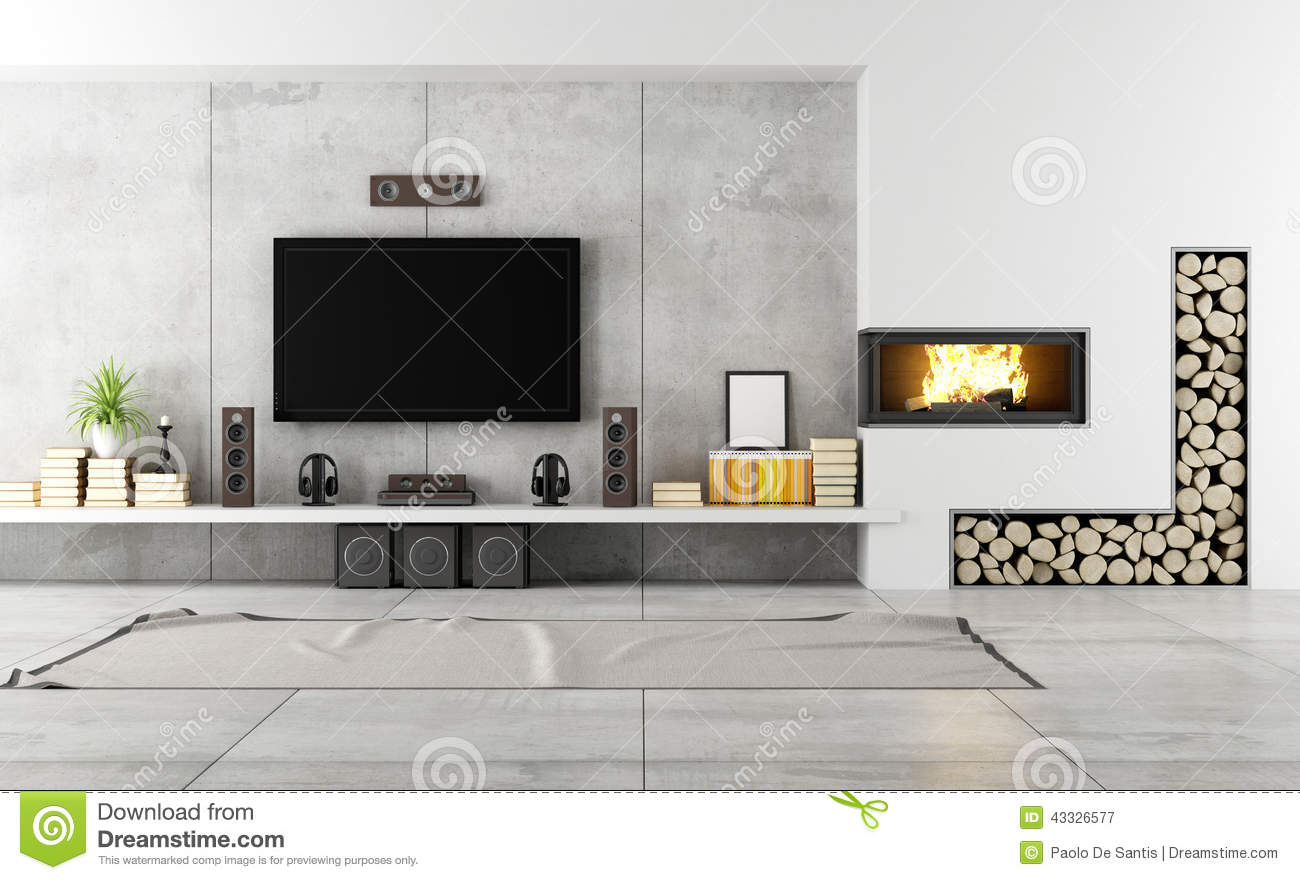 contemporary lounge with fireplace stock illustration illustration of fireplace headphones. Black Bedroom Furniture Sets. Home Design Ideas