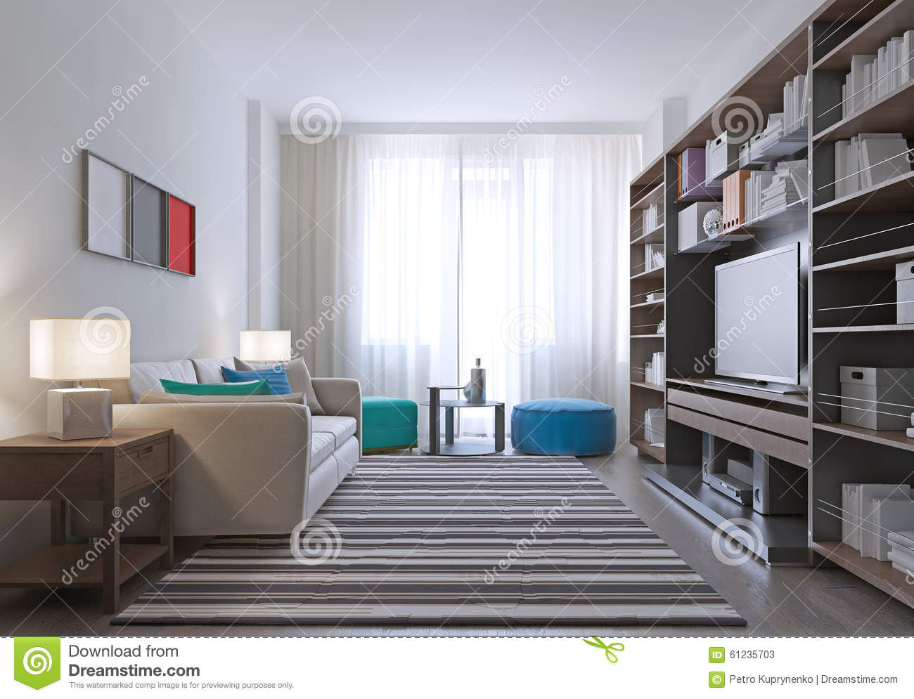Contemporary Lounge Room Design Stock Illustration - Illustration of ...
