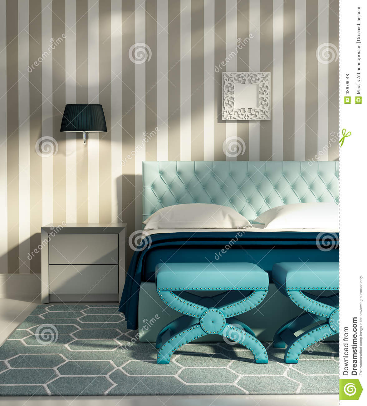 Contemporary luxury bedroom with blue stools