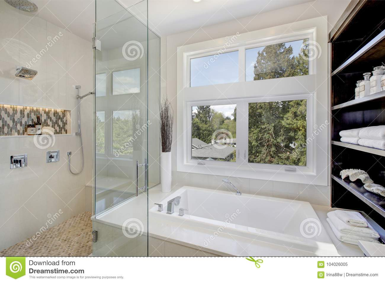 Luxury Bathroom Interior With Large Walk-in Shower Stock Image ...