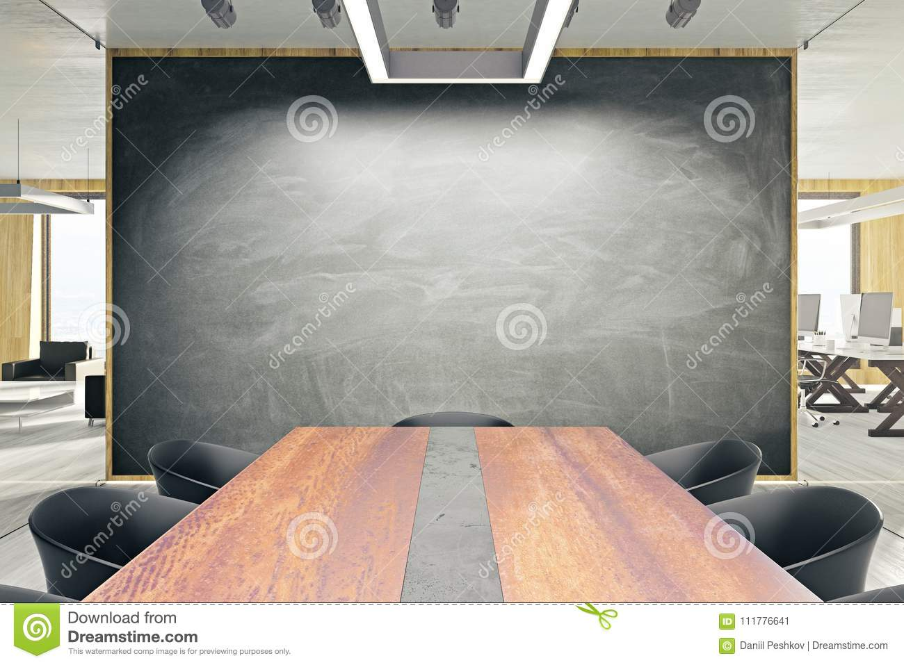 Contemporary meeting room with blackboard