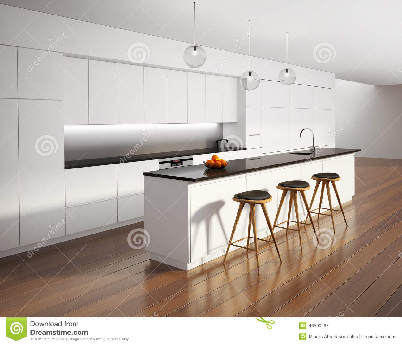 Contemporary Minimal White Kitchen With Black Details Stock Image