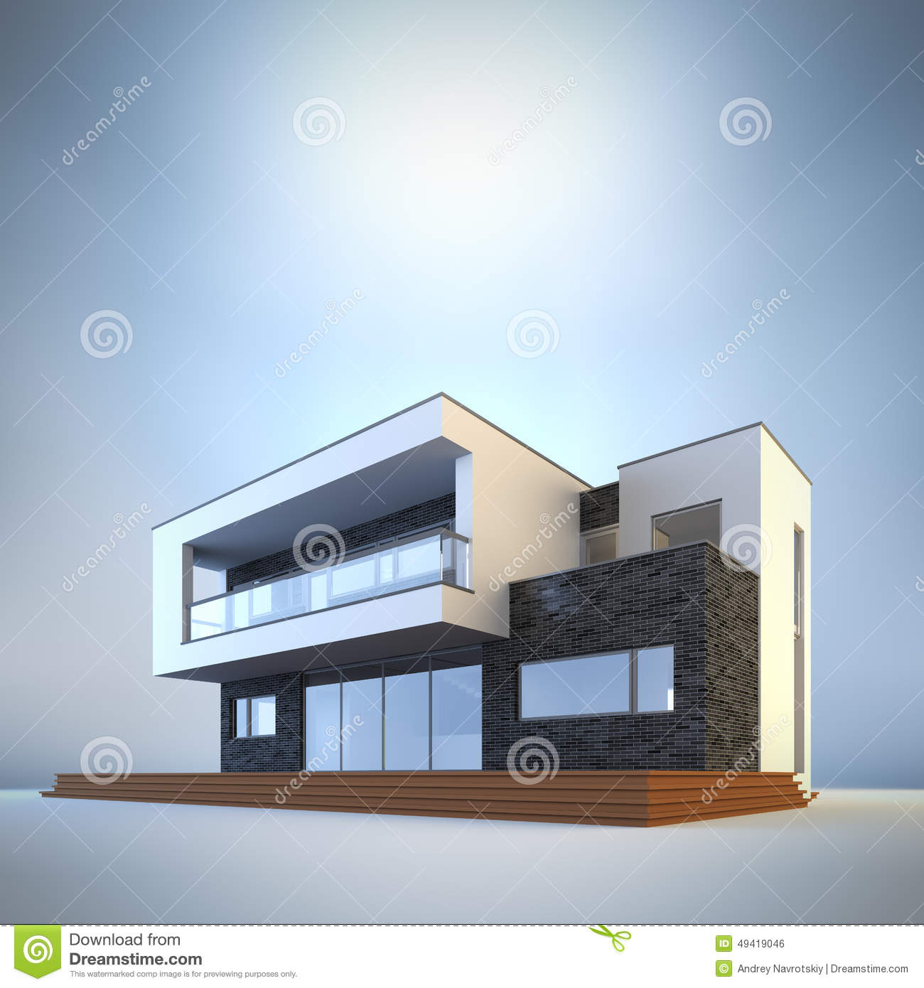 Contemporary Minimalist House Stock Illustration Illustration Of