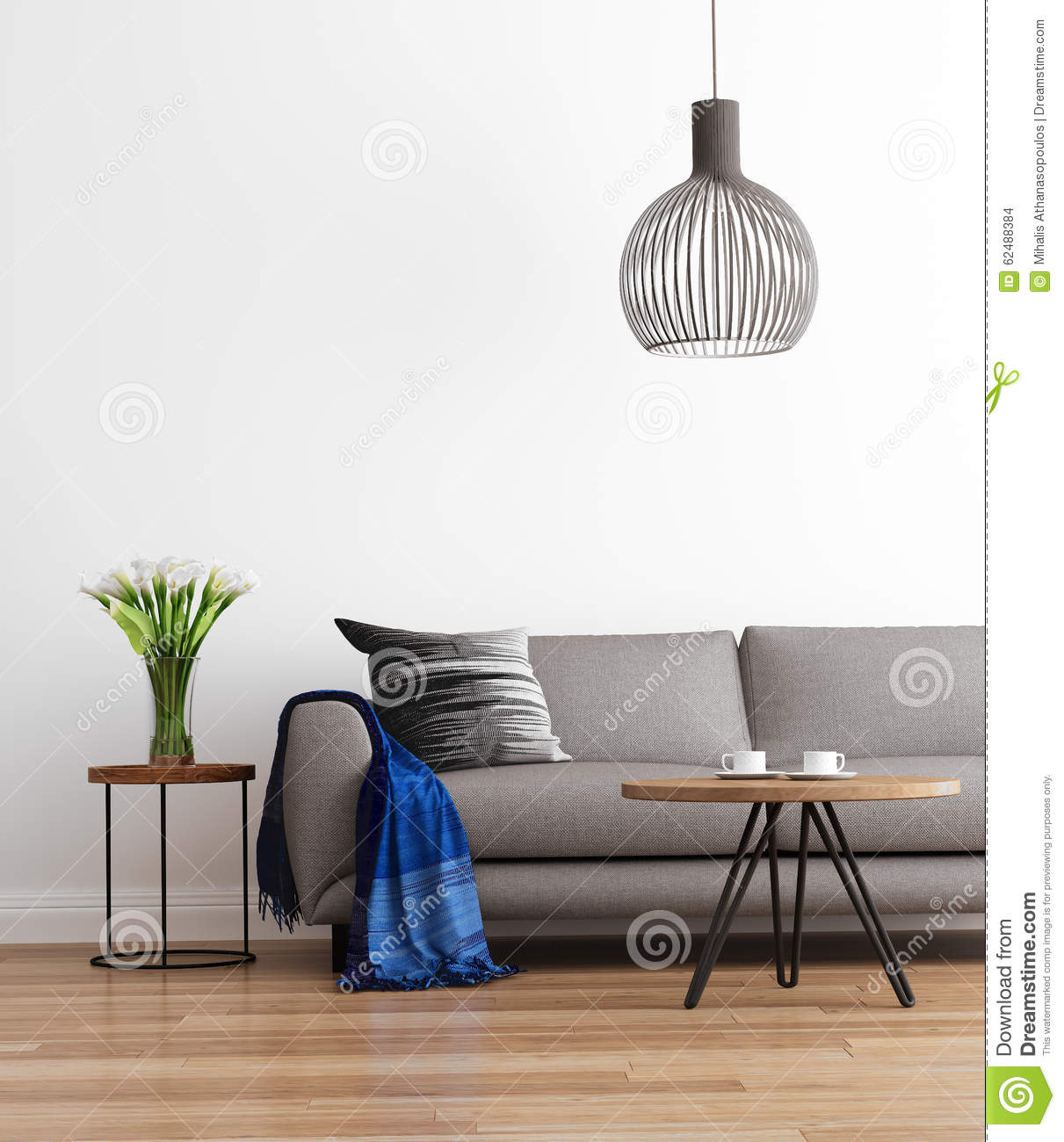 Contemporary Modern Living Room With Grey Sofa Stock Photo - Image ...